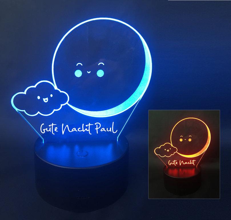 Nachtlicht Baby Mond Gute Nacht Name Gravur Led Licht Lampe